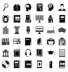 Reading book icons set simple style vector