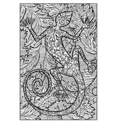 salamander fire lizard engraved fantasy vector image vector image