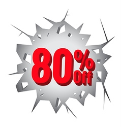 Sale 80 percent on Hole cracked white wall vector image