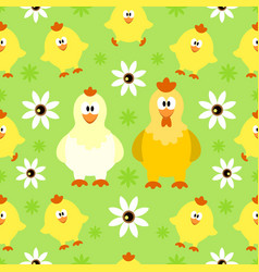 seamless background with funny chicken vector image