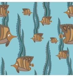 Seamless pattern brown fish vector