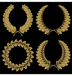Set from gold oak wreath vector image