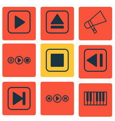 Set of 9 audio icons includes audio buttons vector