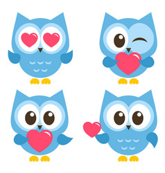 set of cute blue owls with hearts isolated on vector image vector image