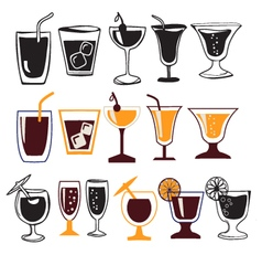 set of different glasses for different drinks vector image vector image