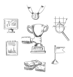 Sketch of business achievment and success symbols vector