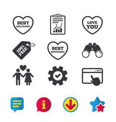 Valentine day love icons best girlfriend vector