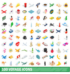 100 voyage icons set isometric 3d style vector
