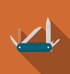 Flat design modern of multifunctional pocket knife vector
