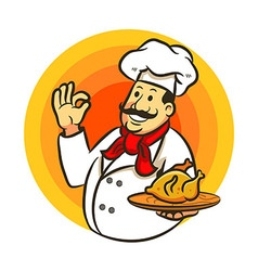 Chef Cooking Fried Chicken And Delicious Sign vector image