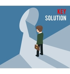 Key solution concept businessman entering keyhole vector