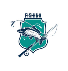 fishing icon with carp fish rod tackle vector image