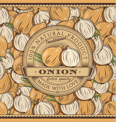Vintage onion label on seamless pattern vector