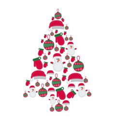 Colorful pattern of christmas silhouettes in vector