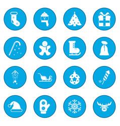 16 christmas icon blue vector