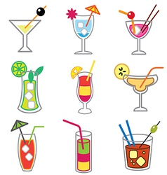 logo icons cocktails vector image
