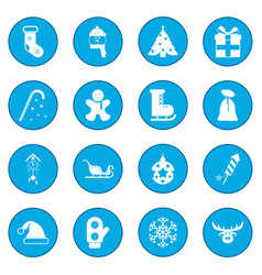 16 christmas icon blue vector