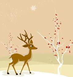 Merry christmas with christmas deer vector