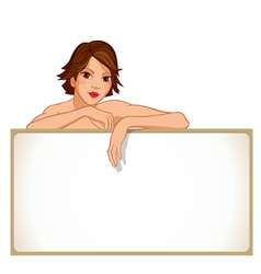 Girl leaning against a blank board vector image