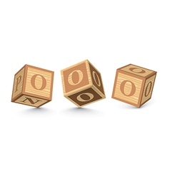 Letter o wooden alphabet blocks vector