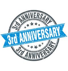 3rd anniversary round grunge ribbon stamp vector