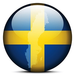Map on flag button of kingdom sweden vector