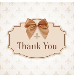 Thank you Banner with golden ribbon and a bow vector image