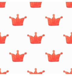 Seamless watercolor pattern with orange crowns vector