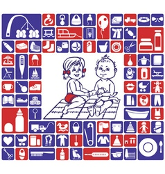 Icons baby items vector