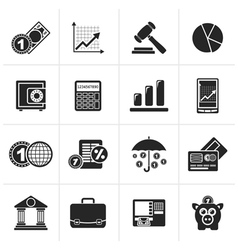 Black business and finance icons vector