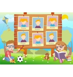 Yearbook for kindergarten with kids vector