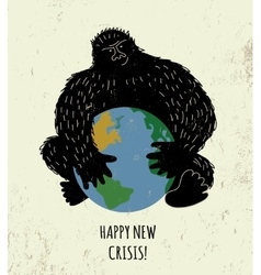 Threat world crisis placard black gorilla color vector