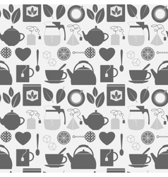 Flat monochrome tea icons seamless pattern vector