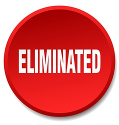 Eliminated red round flat isolated push button vector