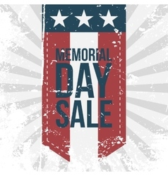 Memorial day sale label on striped background vector