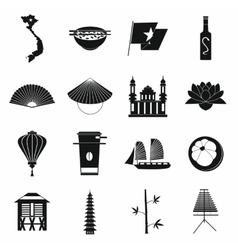 Vietnam icons set simple style vector