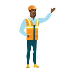 African-american builder showing a direction vector