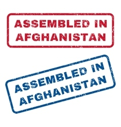 Assembled in afghanistan rubber stamps vector