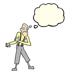 cartoon old man having heart attack with thought vector image