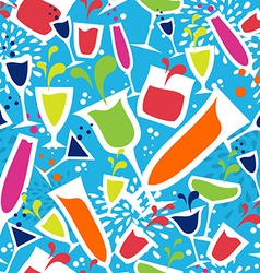 Cocktail glass drink seamless pattern vector image