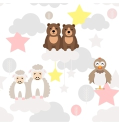 Cute animal kid seamless pattern Bear vector image vector image
