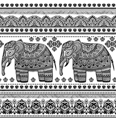 Ethnic indian bohemian style elephant seamless vector