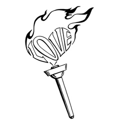 Flaming heart torch of love vector