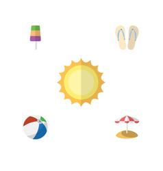 Flat hot set of sunshine parasol sundae and vector