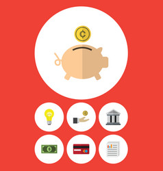 Flat icon finance set of payment hand with coin vector