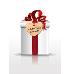 Gift box with red ribbon and bow for fathers day vector