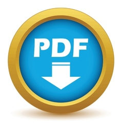 Gold pdf download icon vector