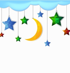 hanging moon and star polygonal vector image