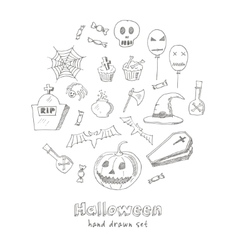 Happy Halloween Trick or Treat Doodles Hand Drawn vector image