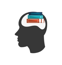 Head silhouette profile and books icon vector